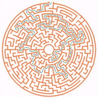 Draws random mazes in concentric circles.